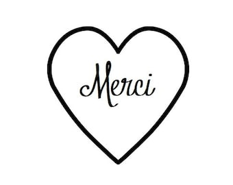 24 Merci Heart Seals / Stickers -You Pick Color (kraft, red, pastel pink, white)