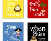 Pirate Art for Kids // Pirate Decor // Pirate Art Prints // You Are My Sunshine Pirate Prints // Art for Boys Rooom // Pirate Nursery Decor