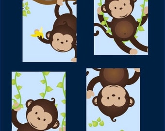 Monkey Nursery Art for boy, Set of Four  8x10 prints, great for nursery, or toddler room, or as a gift, boy/girl version