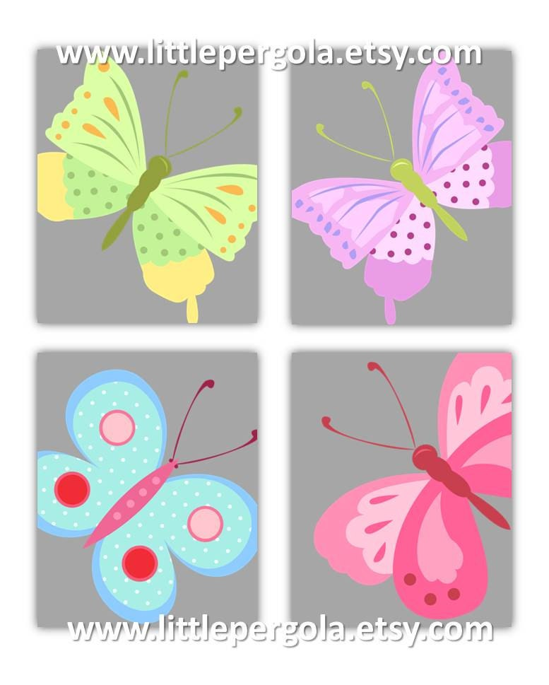 Nursery Wall Decor Butterflies : Art for kids wall decor nursery butterfly prints