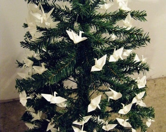 150 small white origami cranes for christmas tree ornament decoration hanging paper birds