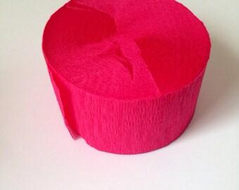 SALE Crepe Paper Streamer, Hot Pink Crepe Paper Streamer, Tissue Paper Streamers, Birthday Party, Wedding, Photo Back Drop, DIY Crafts