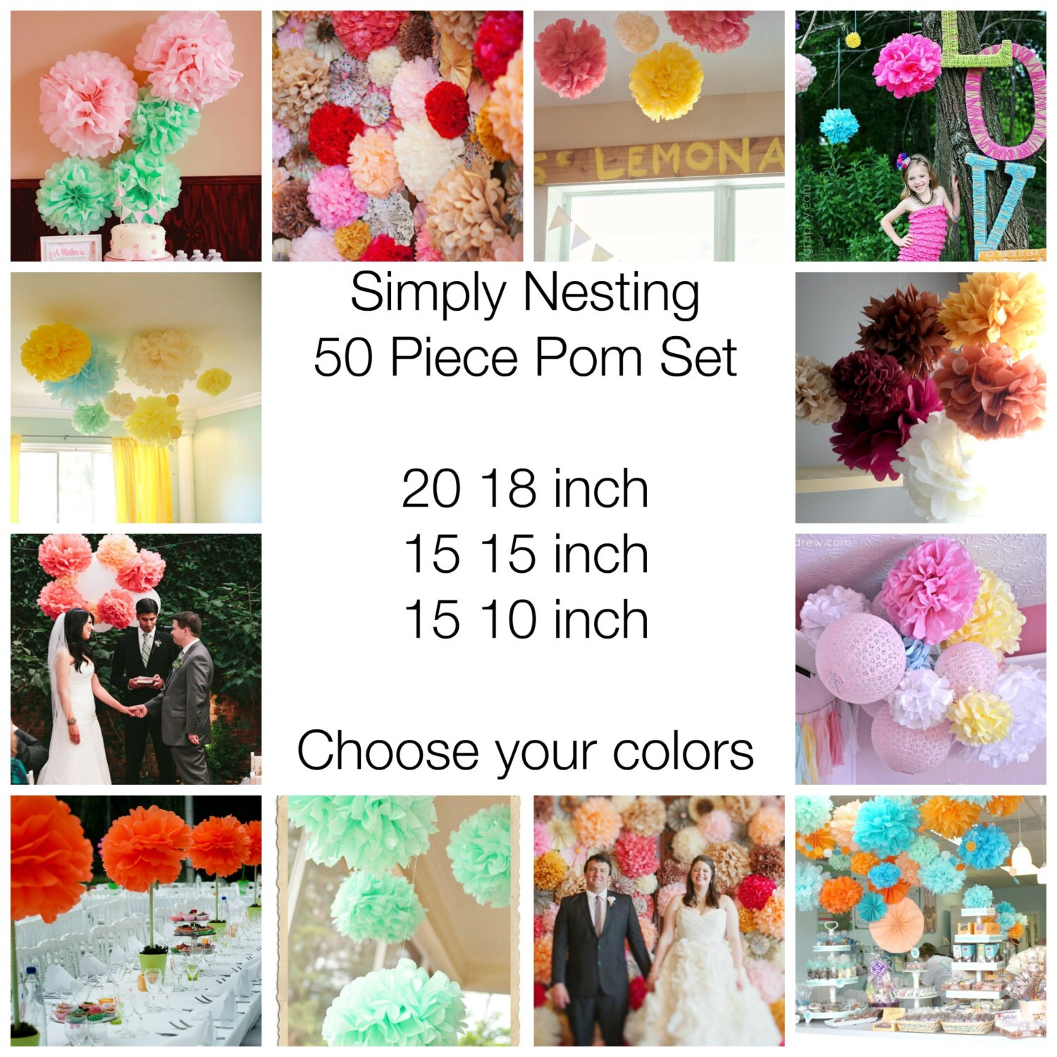 50 Tissue Paper Pom Poms, Wedding Decor, Nursery, Birthday Party ...