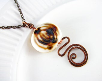 Wire Wrapped Necklace Copper Necklace Ceramic Pendant Copper Wire Wrapped Jewelry Ceramic Necklace Copper Jewelry Boho Chic