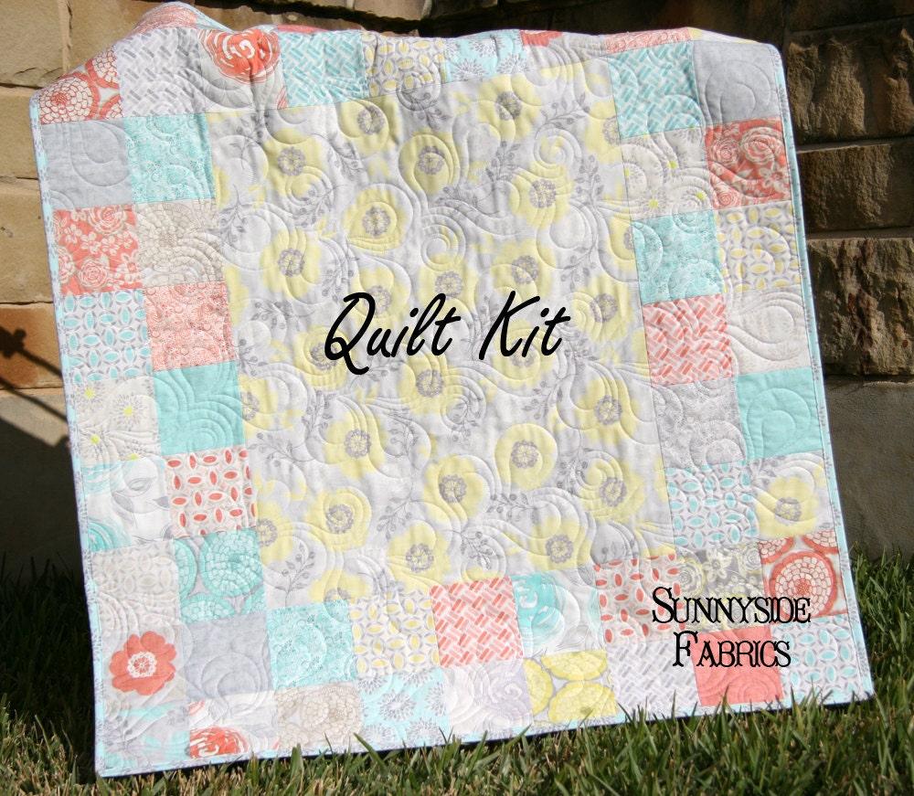 Baby Quilt Kit Modern Roses Moda Fabrics Quick Easy Beginner