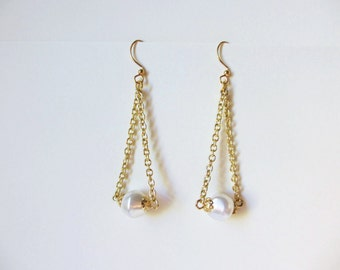Gold & Faux Pearl Bead Dangle Earrings Black Friday Cyber Monday Free Shipping