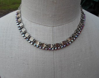 Vintage Silver Tone Scroll Style Chain Iridescent Rhinestones Adjustable Sparkly Glass 1950s to 1960s Pronged