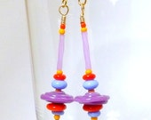 Purple Spinning Top Earrings, 1 1/2 inch (3.8cm) Dangles, Handmade Purple Saucer Glass Beads with Red Blue and Yellow on Gold Plate Wires