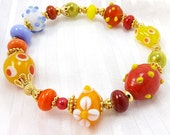 Orange Yellow and Blue Bead Bracelet, 6 1/2 inches (16.2cm,) Medium, Lampwork Glass Beads with Gold Bead Accents, Easy Fit Stretch Bracelet