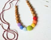 The Best-Seller Simple Rainbow Nursing Necklace - Oak Wood