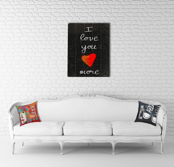 Wooden Art Sign Planked I Love You More typography love heart black wall decor