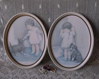 PAIR, Vintage Large oval framed, Bessie Pease, hardboard pictures, shabby cottage