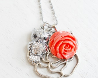 Owl Necklace,Long Necklace,Owl Charm Jewelry,Animal Necklace,Rose Necklace,Shabby Chic,Owl Pendant,Red Rose Flower with Owl,Animal,Bird