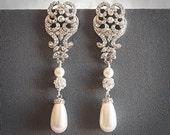 Wedding Earrings, Victorian Teardrop Pearl Bridal Earrings, Swarovski Pearl and Crystal Flower Leaf Chandelier Statement Earrings, PATRICE