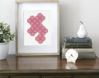 8 x 10 Honeycomb Illustration, Digital Download, Pink