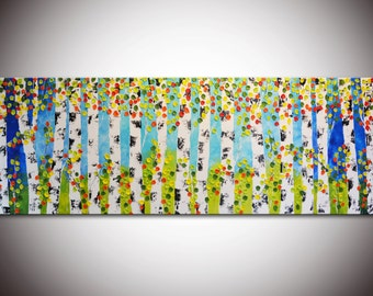 "72"" Huge Painting, Original Abstract, XXL Aspen Painting, Abstract Forest,Large Forest Painting, Birch forest,Blue Green Trees,Blue painting"