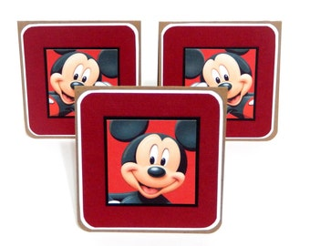 CLEARANCE- Disney Inspired: Mini Notecards, Mini Greeting Cards, Gift Bag Tags- Set of 6- 3 x 3 inches approx.