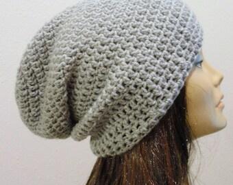 Slouchy Beanie Slouchy Hat Gray Grey Unisex Slouchie Beanie Women, Men, Teen Beanie, Gift for Her, Boyfriend, Winter Accessories, Fashion