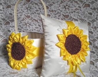 Sunflower Wedding, Flower Girl Basket & Ring Bearer Pillow Set, Sunflower, Yellow Satin Trim, Lace, Flower Girl Baskets, Ring Bearer Pillow