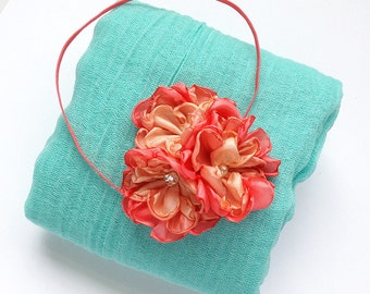 Mint and Coral Newborn Photo Prop -  Handmade Fabric Coral, Peach Flower Headband for  Baby Girl, Photo Session, Baby Shower Gift