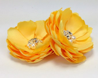 Yellow Satin Flower Hair Clip with Swarovski Sew on Crystals and Pearls, Shoe Clip, Brooch Pin - Wedding, Family Photo Prop - Many Color Kia