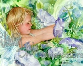 """Girl Nymph, Fairy in Blue Pastel in Lavender Morning Glory Flowers, Children Watercolor Painting Print, Wall Art, Home Decor, """"Flower Fairy"""""""