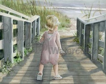 "Beach Girl Toddler in Pink Romper on Boardwalk, Seashells, Children Watercolor Painting Print, Wall Art, Home Decor, ""Hanging With Hannah"""