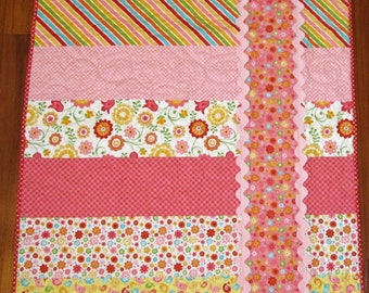 "Sale Hello Sunshine Pink, Yellow, Orange, Red, Aqua and Green With Large Ric Rac Girl Quilt--39"" x 49"""