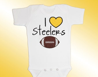 Baby Bodysuit Jersey Shirt - I Love Steelers Football Applique - Embroidered Short or Long Sleeved - Free Shipping