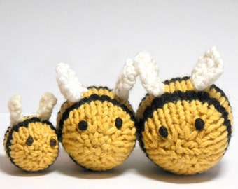 Bees, Knit Bee Set, Bumble Bee Nursery, Woodland Modern Nursery, Bee Soft Toys, Natural Fibers, Black, Yellow, White