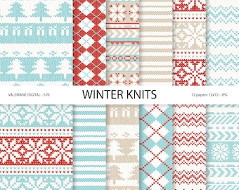 Sweater Digital Paper Winter Knits, blue and red winter sweater patterns, Christmas scrapbook paper,  Pack 576