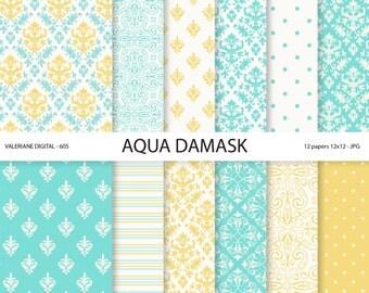 Aqua Damask Paper, yellow damask digital paper, wedding papers, scrapbook paper, scrapbooking - 605