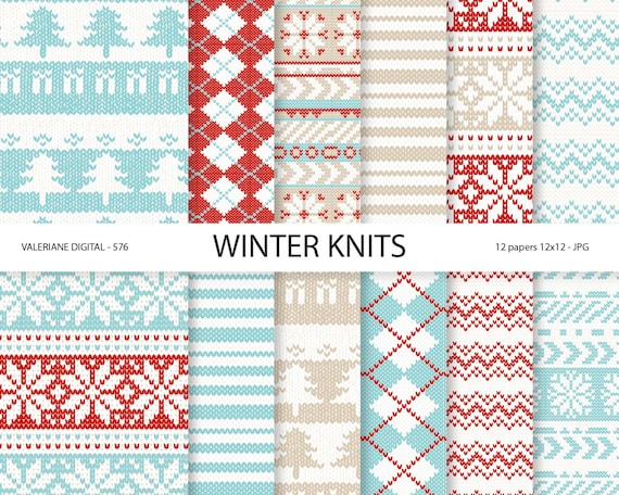 Knitting Patterns For Winter Sweaters : Sweater Digital Paper Winter Knits blue and red winter