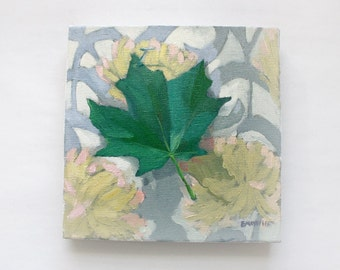"SALE! 10x10"" oil on canvas painting - ""Maple Leaf"""