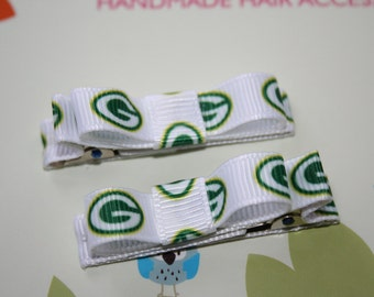 Green Bay Packers Ribbon Lined Hair Clips Clippies - Set of 2 - Babies, Toddlers, Girls