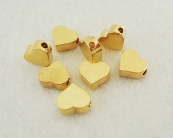 F-312. 5pcs, Gold Plated Heart  Beads