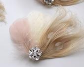 Wedding Bridal Ivory Champagne Blush Peacock Feather Rhinestone Jewel Veiling Head Piece Hair Clip Fascinator Accessory