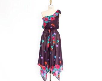 70s Boho Sundress Fruit & Floral Print Dress One Shoulder Handkerchief Hem semi sheer eggplant plum purple elastic waist midi party frock