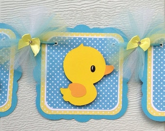 Duck baby shower banner, baby boy decorations, it's a boy banner, rubber duck banner, table decor, party decor, duck banner, yellow and blue