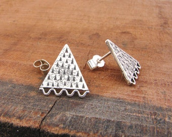 inca rustic silver triangle earrings, wave and triangles studs