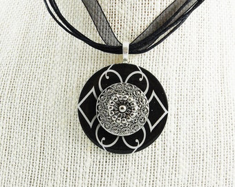 Handmade Upcycled Washer Necklace - Black and White with Pewter Button