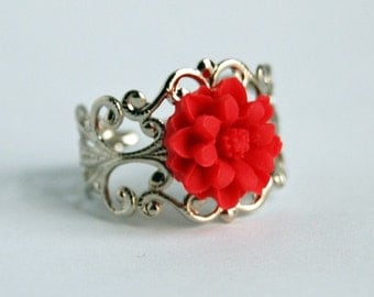 Silver Tone Filigree Ring with Red Resin Flower