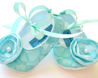 Aqua Lace Vintage Baby Shoes Ballerina Slippers