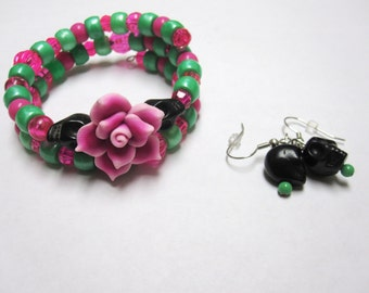 Skull Bracelet Earring Set Day Of The Dead Green Hot Pink Flower