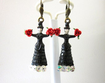Frida Kahlo Earrings Black Dress Day of the Dead Jewelry Red Roses