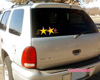 Custom Personalized Car Window Decal Sticker Western Rodeo Cowboy Family Mom Dad Daughter Boots Sheriff