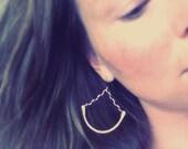 Gold Swing Earrings, half hoops, brass earrings, chain earrings