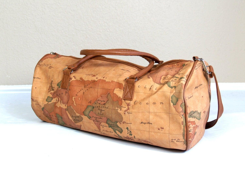 Huge Vtg 80s World Traveler Oversized Weekender Bag Map Print