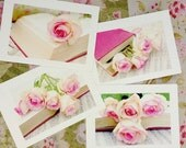 Romantic Roses Postcard Set - 4 Postcards with envelopes - Bouquet of Roses - Romantic Stationery Set - Flower photography