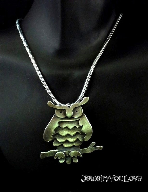 Sterling Silver Owl Necklace - Fat Owl